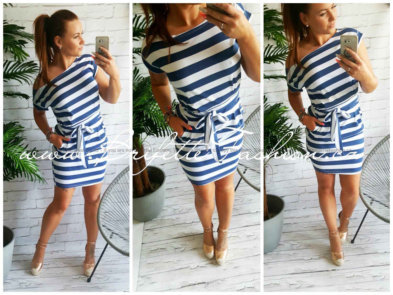 Pruhované šaty Brrie - tmavě modrý proužek!  75edd983ae