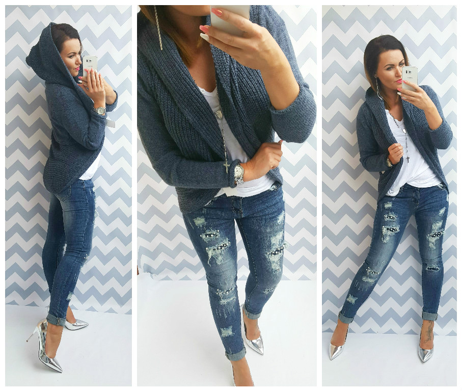 Pletený cardigan  Julia denim blue s kapucí
