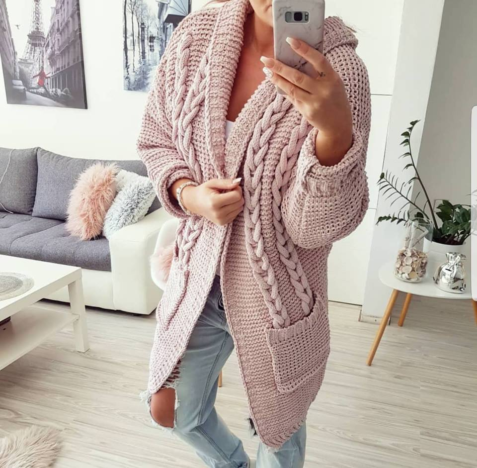 Cardigan s copy - rose