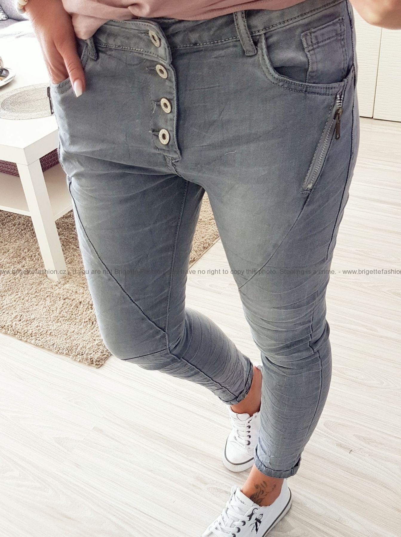 Baggy džíny šedé se zipy a knoflíky  d39295bc84