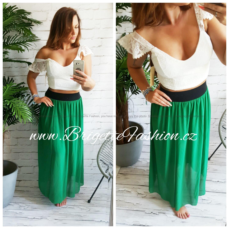 e0c24f35df6 Šifonová sukně zelená dlouhá