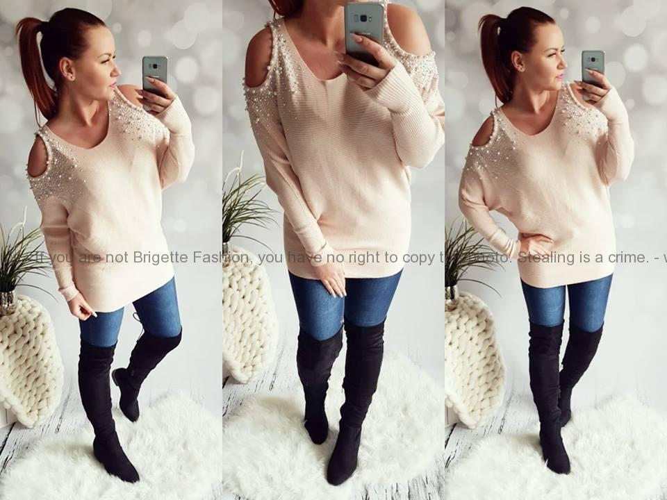 Elastický svetr s odhalenými rameny a perličkami růžový  738c64f171