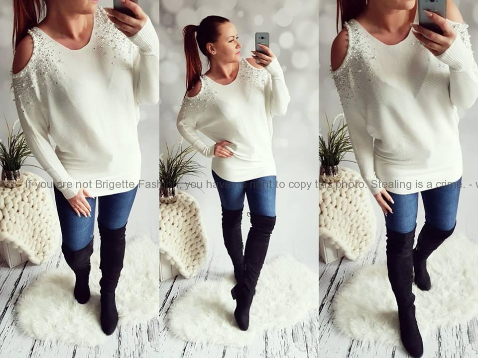 Elastický svetr s odhalenými rameny a perličkami bílý  780656f231