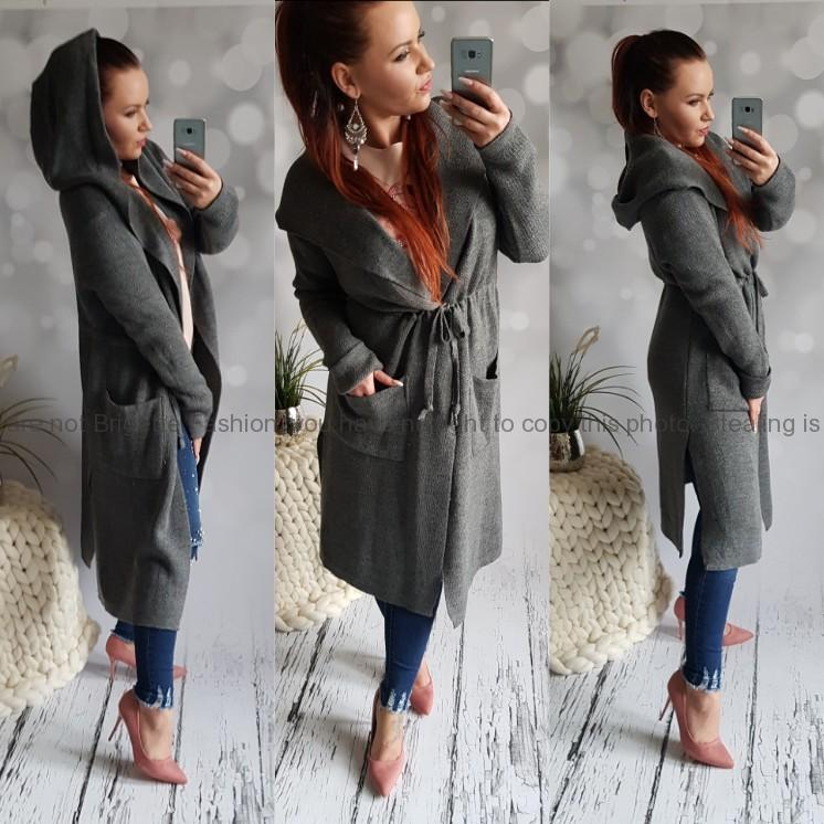 1b2ab6e1bf Svetrový cardigan kabát s kapucí Bella šedý
