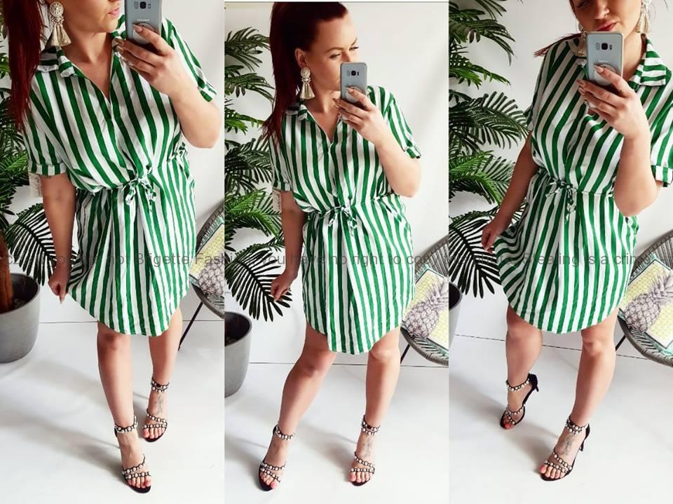 Pruhované šaty - zelené  48eb4ccd78