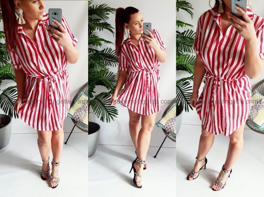 b250413c50c8 Pruhované šaty - červené