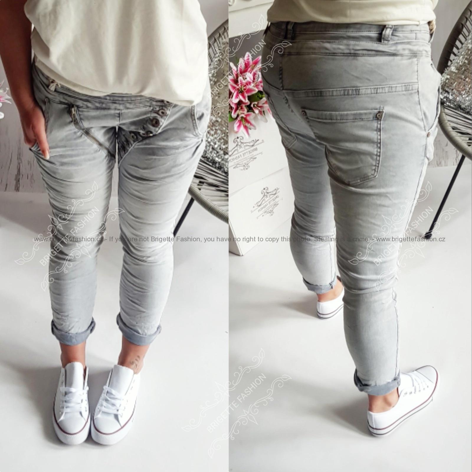 Šedé baggy džíny s knofliky  46a44e9795
