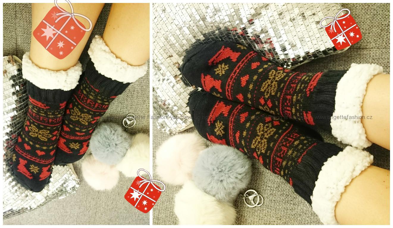 Vánoční hřejivé ponožky se vzorem  a94563993c