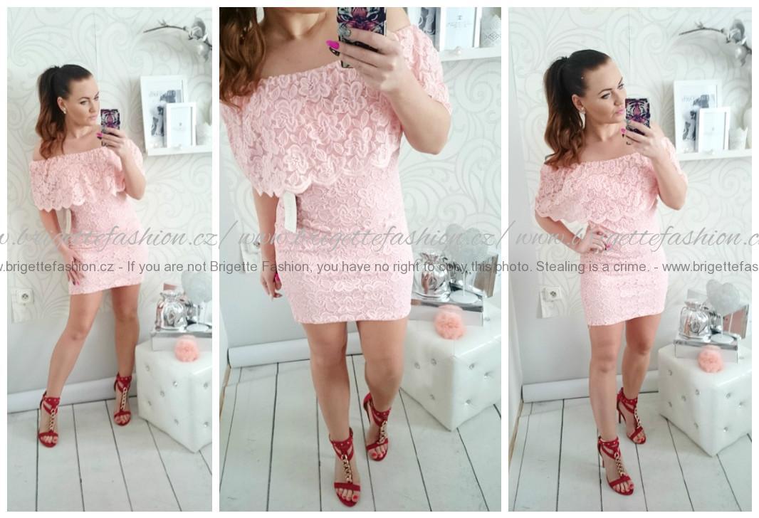 06cd2ffc144 Nádherné krajkové mini šaty růžové-pudrové