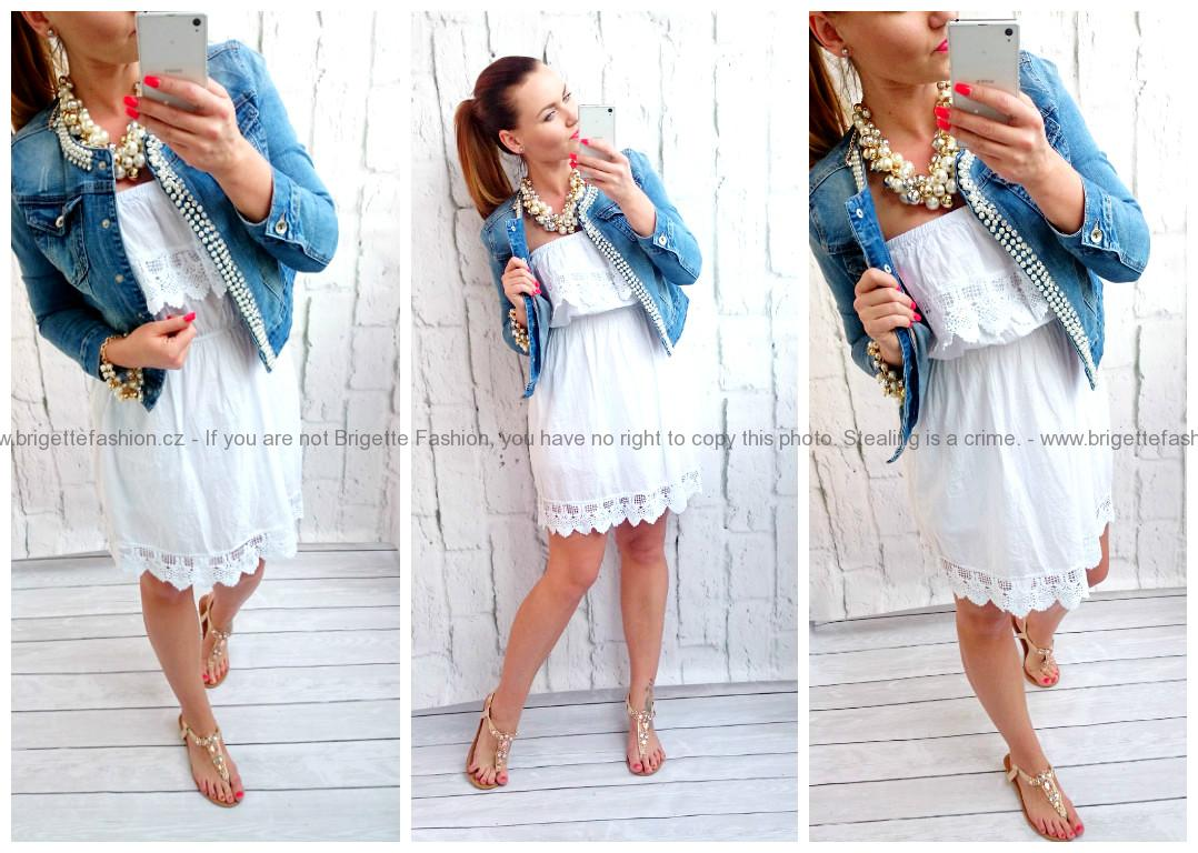 59395aa48f6 Romantické šaty 100%bavlna Italy bílé