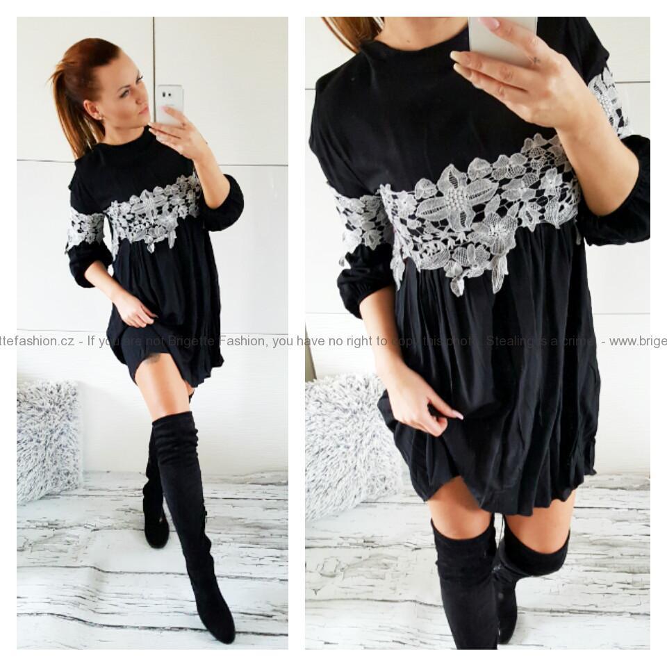 Tunikové šaty s krajkou černé  ce1a7f8657