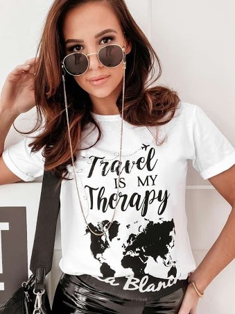 Tričko Travel is my therapy - bílé