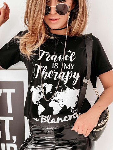 Tričko Travel is my therapy - černé